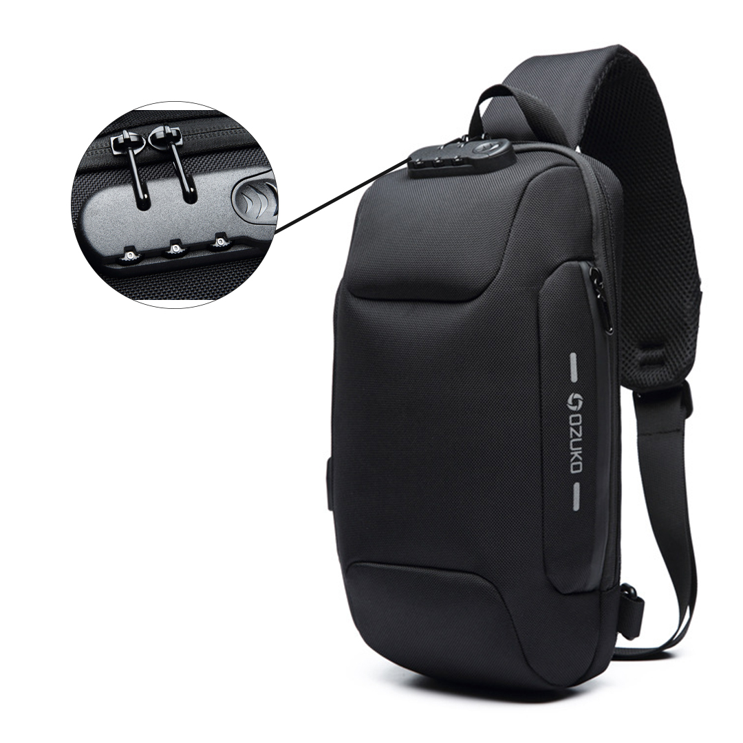 TBF OZUKO Anti-Theft Sling Bag, backpack, easy access powerbank, lock, secure, security, anti theft, anti pencuri, kunci, bagpack, sling, shoulder, beg, galas, sandang, outdoor, water-resistant, multi function, multi purpose, many pockets, poket, secure zip, strong, durable, adjustable buckle and strap, tali