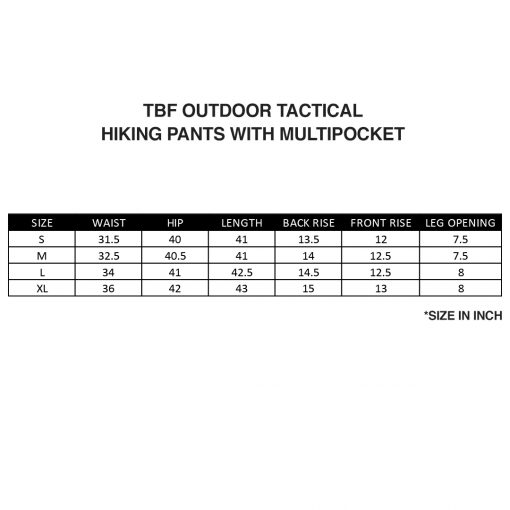TBF Outdoor Tactical Hiking Pants with Multipocket SZ