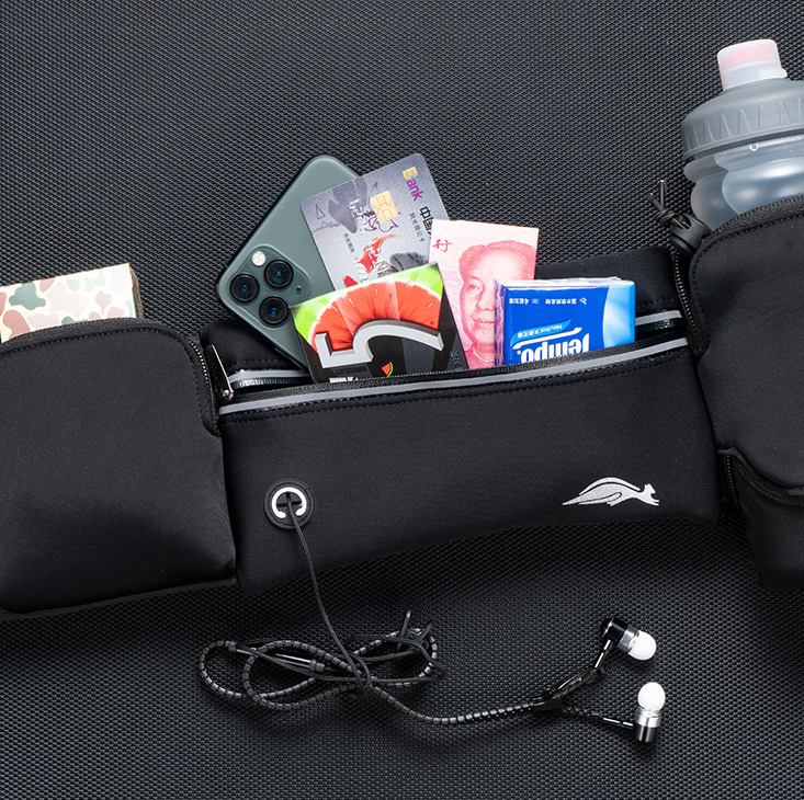 TBF Outdoor Waist Pouch with Water Bottle ; High elasticity, breathable and scratch-resistant and quick dry