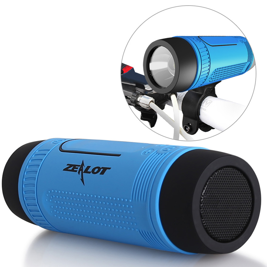 ZEALOT S1 Wireless Bluetooth Speaker, power bank, light, flashlight, torchlight, music, smartphone, 4000mAh, SOS, emergency, card slot, USB, rechargeable, strong LED