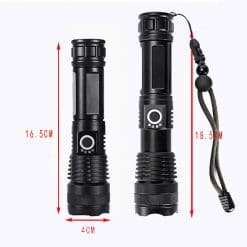 The new strong light flashlight power display USB cross-border P50 rechargeable retractable flashlight XHP50 aluminum alloy