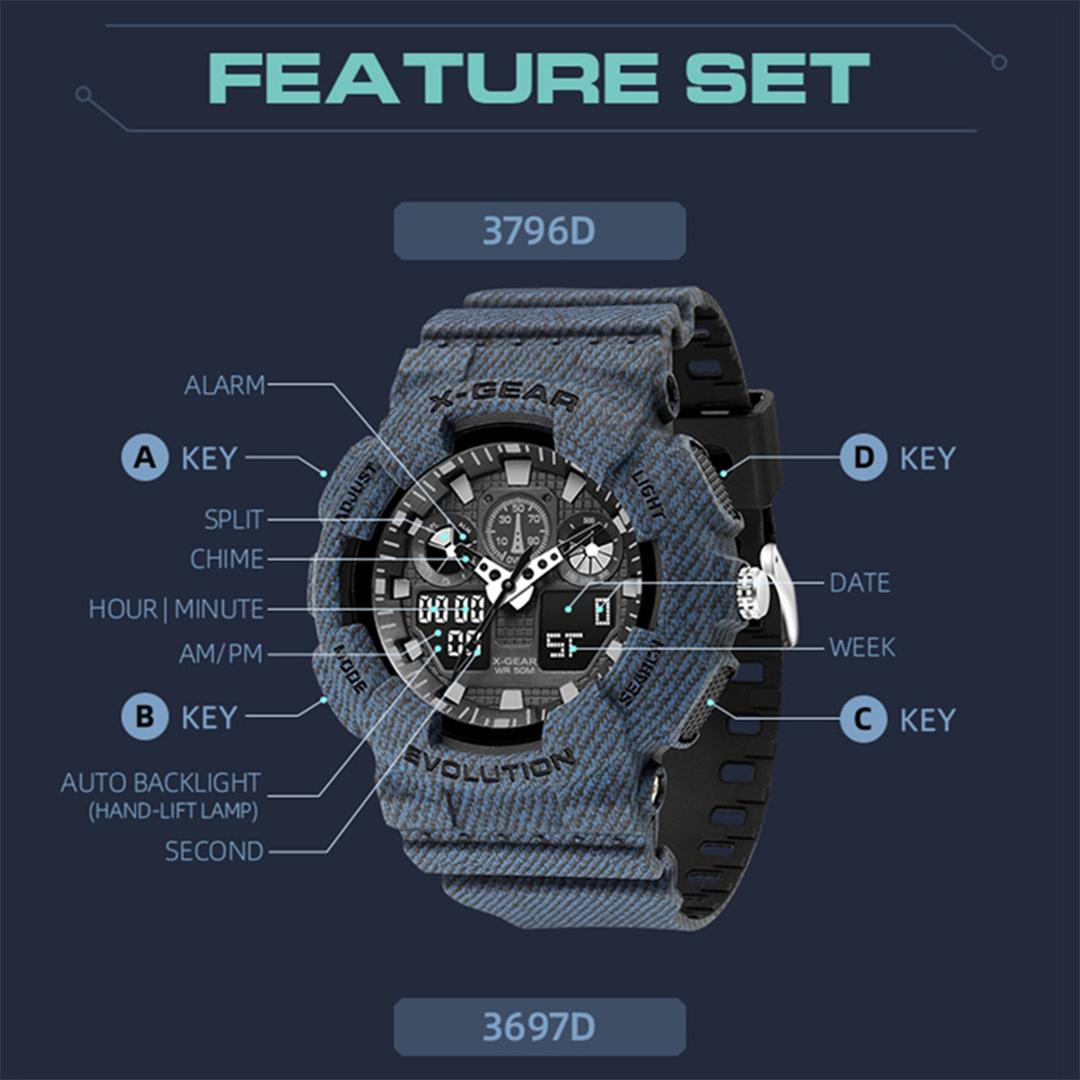 X-Gear Outdoor Sport Watch, 50m water resistant