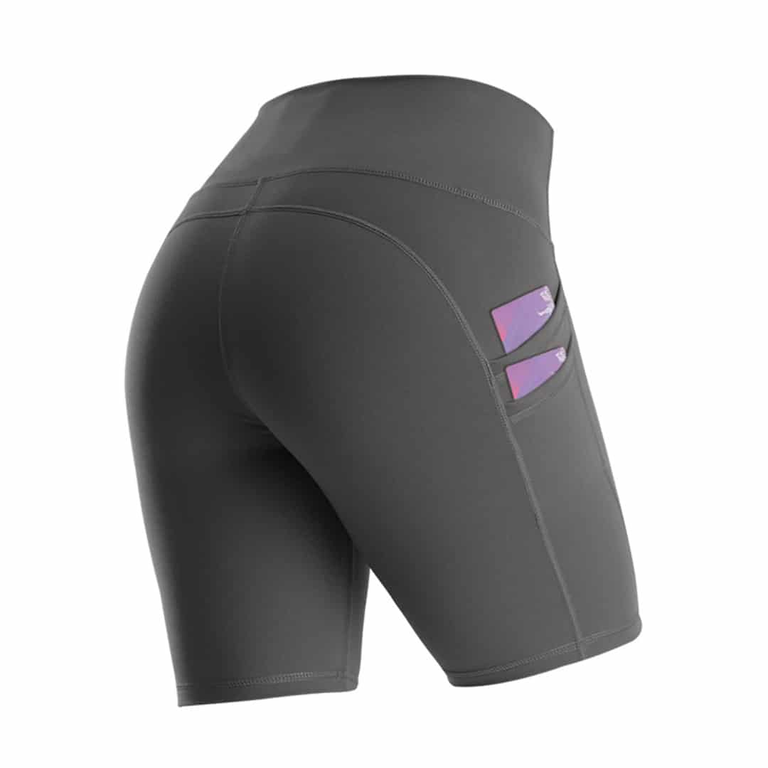 Havana Female Quarter Short Tights with Double Pocket, sports, women, quick dry, high waits, trade, black, grey, sukan, sendat, ketat, egging, running, fitness, yoga, cycling, tight, inner, outer, boxer, short pant