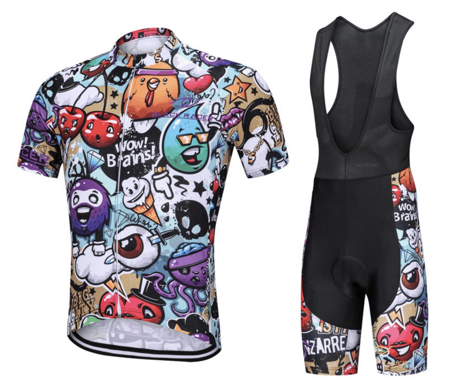 Black Racer Short Sleeve Cycling Shirt Set