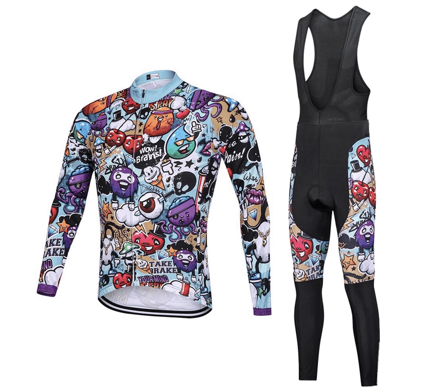 Black Racer Long Sleeve Cycling Shirt Set