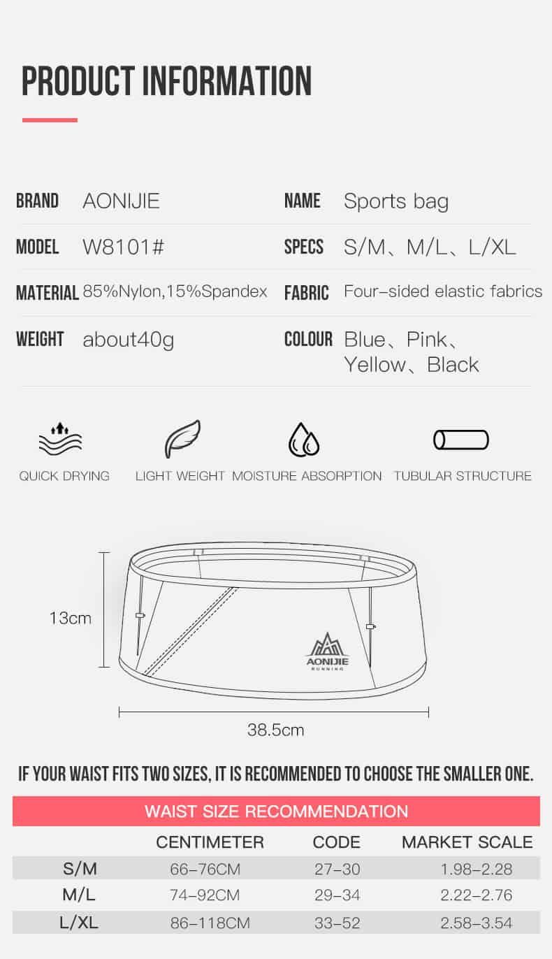 AONIJIE Ultralight Jogging Waist Pouch, Aonijie, Aonijie Malaysia. Jogging Waist Pouch Bag. Running Belt, Large Pocket for Smartphone