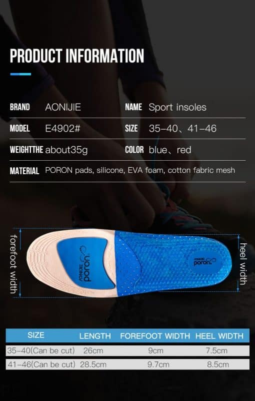 aonijie running insoles size chart