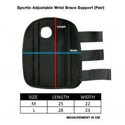 Sportio Adjustable Wrist Brace Support Pair Size