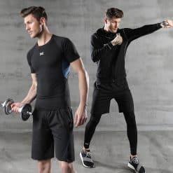 Xenoc Workout Compression Shirt Set Blue2 2
