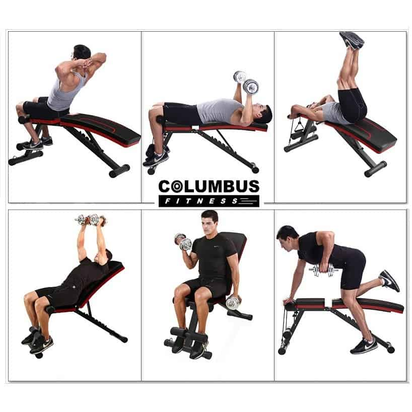 COLUMBUS FITNESS Full-body Workout Gym Bench, Gym bench, Adjustable bench, Exercise bench, Folding weight bench, Adjustable workout bench