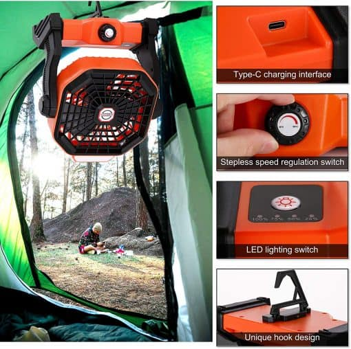X2 Rechargeable Camping Fan with LED Lantern 4