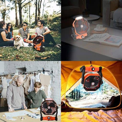 X2 Rechargeable Camping Fan with LED Lantern 5