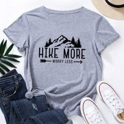 Hike More Worry Less Women's T-Shirt t-shirt, Hike more t-shirt, letter print tops, mountain graphic shirt, short sleeve tee shirt, crew neck, cotton blend, summer casual tee tops, outdoor adventure tees, tops, jersey, shirt, women wear, travel, hiker, hike more worry lest, hikers life, lifestyle